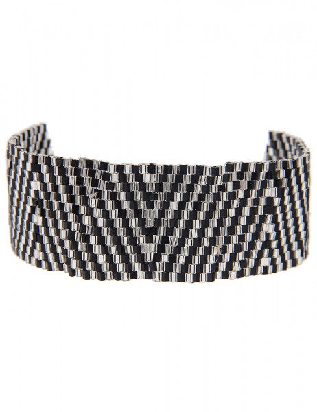 -50% SALE Leslii Damen-Armband Web-Muster Dreieck-Look Schwarz Silber Textil Glasperlen Größe verste