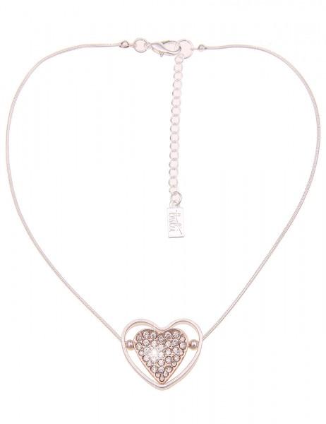 Leslii Damenkette Glitzer Herz-Kette Bicolor Strass-Collier Wende-Kette kurze Halskette Modeschmuck-