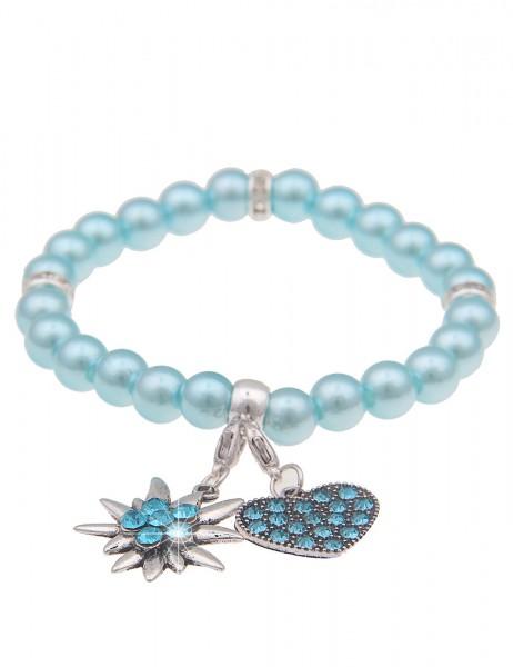 Leslii Damen-Armband Herz-Anhänger Edelweiß Oktoberfest Wiesn Dirndl blaues Perlen-Armband Modeschmu