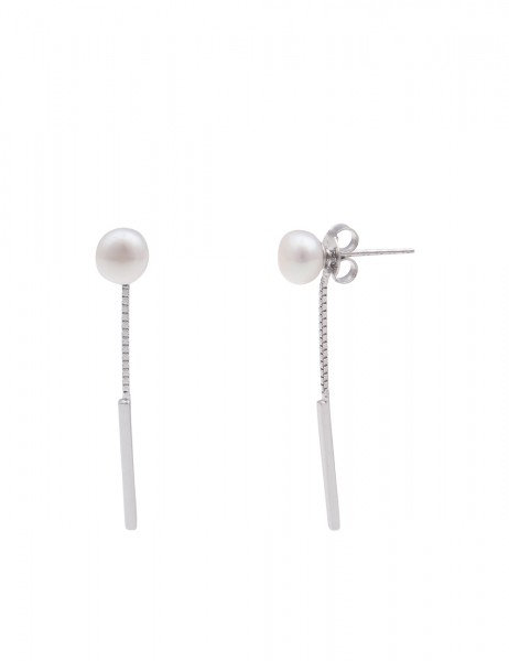Leslii Damen-Ohrringe Ohrhänger Sterling Silber 925 Muschelkern-Perle Weiß Hoch-Glanz 3,4cm 23011599