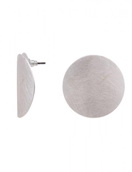 Leslii Damenohrringe Ohrstecker Round aus Metalllegierung Länge 3,2cm in Silber Matt