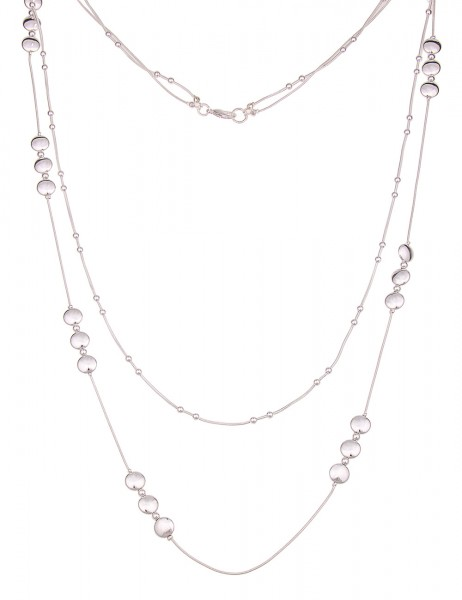 Leslii Damen-Kette Glanz Ringe Silber Metalllegierung Hochglanz 90cm + Verlängerung 220117025