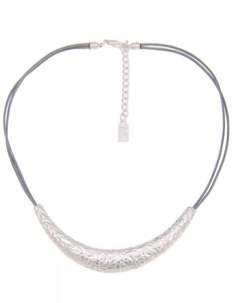 -50% SALE Leslii Damen-Kette Muster-Spiel Silber Grau Textil Metalllegierung 44cm + Verlängerung 210