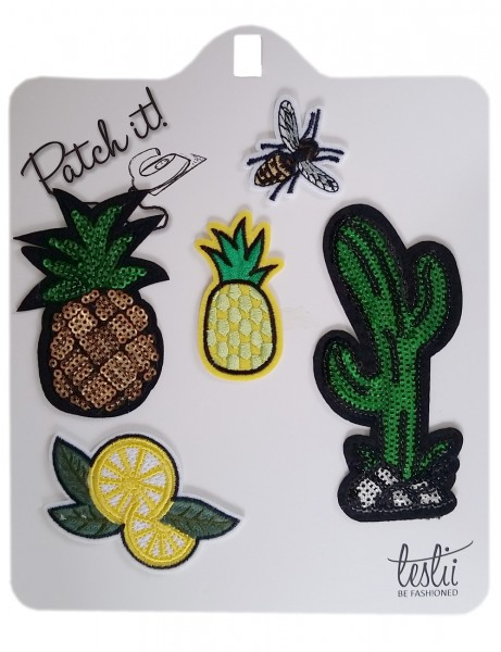 -70% SALE! Leslii 4teen Ananas & Kaktus Bügelpatches im 5er Set Textil Grün Gelb