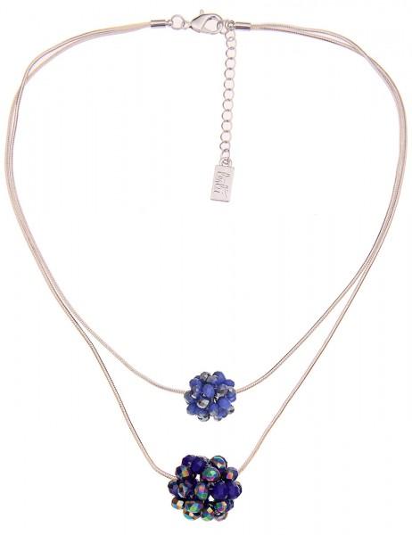 Leslii Damen-Kette Glasperlen-Kugeln Blau Weiß Zweireihig Metalllegierung 42cm + Verlängerung 210116