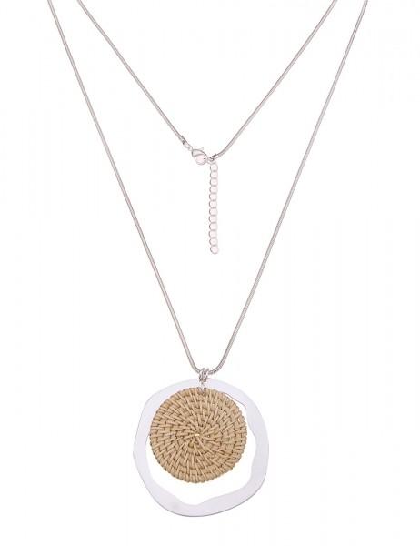 Leslii Damenkette Strandbar aus Metalllegierung mit Bast Länge 84cm in Silber Beige