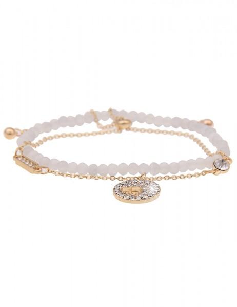 Leslii Damen-Armband Glitzer 2er-Set Strass Herz-Armband Glasperlen-Armband goldenes Modeschmuck-Arm