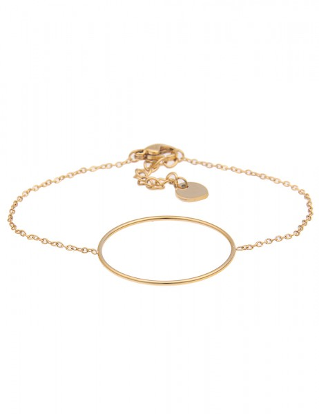 Leslii 4teen Damenarmband Kreis aus Edelstahl Länge 15,5cm in Gold