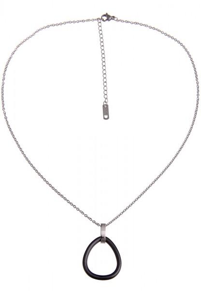 LAST CHANCE! Leslii Kurze Halskette Simple Black in Silber Schwarz