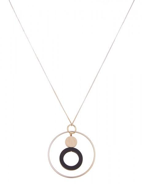 Leslii Damen-Kette Holz-Ringe echte Holz-Kette Holz-Schmuck lange Halskette Modeschmuck-Kette in Sil