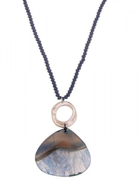 -70% SALE Leslii Damen-Kette Naturstein Silber Blau Glasperlen Metalllegierung 88cm + Verlängerung 2