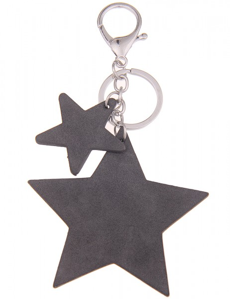 -70% SALE Leslii Schlüssel-Anhänger 2er Stern Grau | Damen-Accessoires Mode-Schmuck | Länge: 14cm