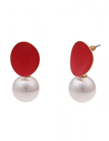 Leslii Damen-Ohrringe Ohrhänger weiße Perlen-Ohrringe rote Statement-Ohrringe goldene Modeschmuck-Oh