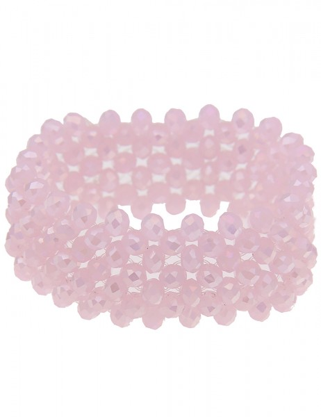 Leslii Damen-Armband Statement-Armband Glitzer-Armreif breiter Armschmuck Glas-Perlen rosa Modeschmu