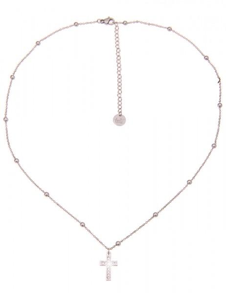 Leslii Damen-Kette Christa Kreuz-Kette Kreuz-Schmuck Strass Collier kurze Halskette silberne Modesch