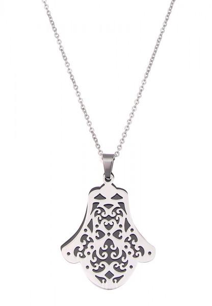 LAST CHANCE! Leslii Lange Halskette Fatimas Hand in Silber Schwarz