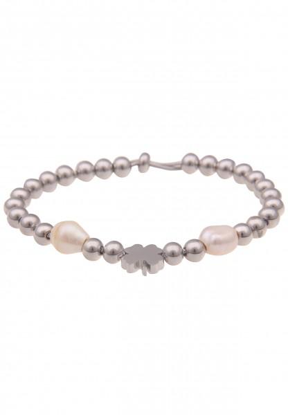 Leslii Armband Glücksbringer Kleeblatt Perlen in Silber