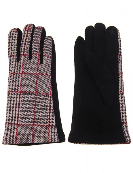 Leslii Damen Handschuhe Hahnentritt Muster aus Polyester und Baumwolle Größe One Size in Beige Rot