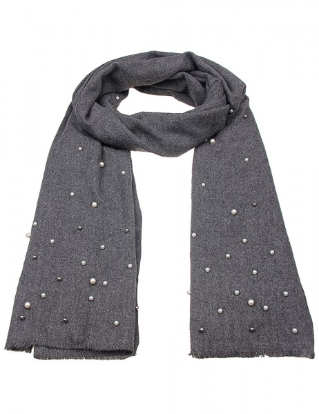 -50% SALE Leslii Damen-Schal Glanz Perlen 100% Polyester 180cm x 89cm Grau Weiß 900317138