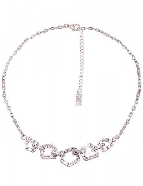Leslii Damen-Kette Glassteine Silber Weiß Metalllegierung Strass 43cm + Verlängerung 210116713