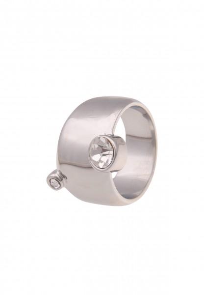 Leslii Damen-Ring breiter Statement-Ring Glas-Steine Glitzer silberner Modeschmuck-Ring in Silber We