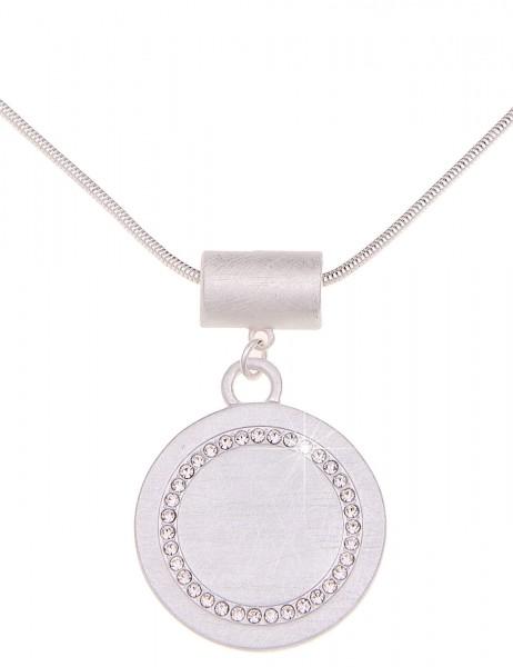 -70% SALE Leslii Halskette Glitzer Circle Silber   kurze Damen-Kette Mode-Schmuck   46cm + Verlänger