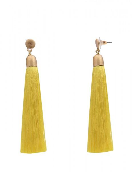 -50% SALE Leslii Damen-Ohrringe Ohrhänger Textil-Bommel Gold Gelb Metalllegierung Stoff 8cm 23021636
