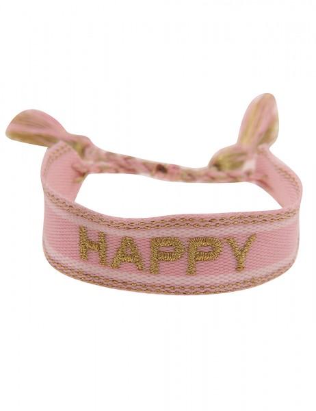 Leslii Damen-Armband Festival-Armband Happy-Schriftzug Rosa Gold