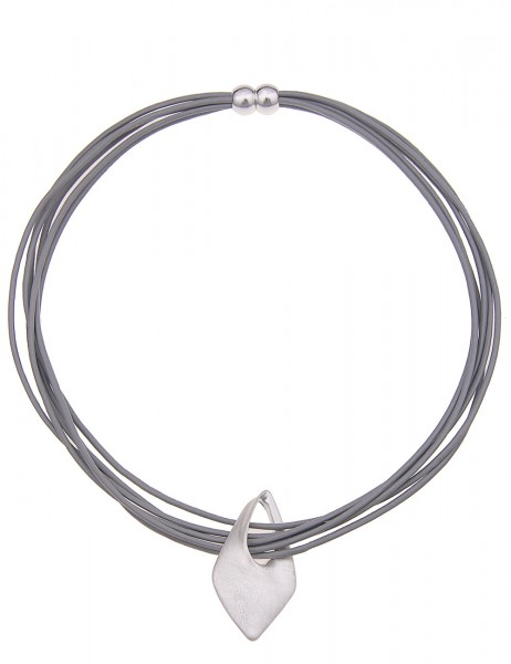 Leslii Damenkette Raute Matt aus Lederimitat mit Metalllegierung Länge 46cm in Silber Grau