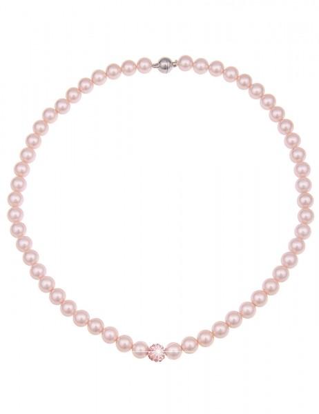 Leslii Damenkette Perlen Collier aus Muschelkernperlen mit Strass Länge 45cm in Rosa