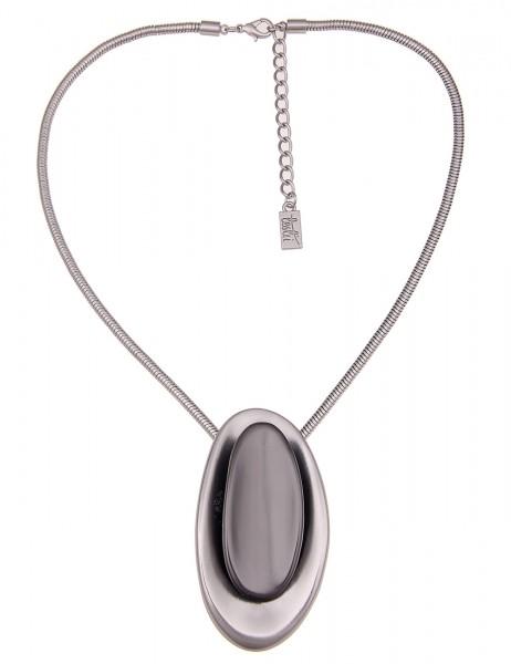 Leslii Damenkette Bicolor Oval aus Metalllegierung Größe 40cm in Silber Schwarz
