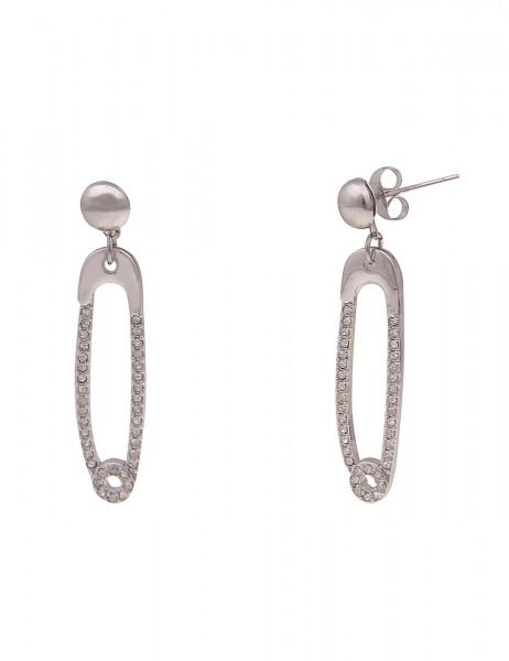 Leslii Damen-Ohrringe Glitzer-Ohrhänger Sicherheits-Nadel Strass-Ohrringe silberne Modeschmuck-Ohrri