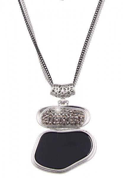 Leslii Halskette Black Stone Silber Schwarz | lange Damen-Kette Mode-Schmuck | 82cm + Verlängerung