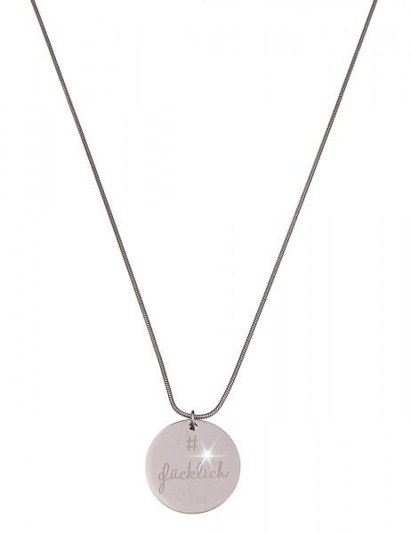 -70% SALE Leslii 4teen Damenkette Spruchkette # Glücklich aus Metall Länge 86cm in Silber