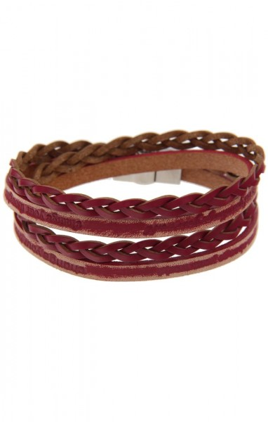 LAST CHANCE! Leslii Wickel-Armband Used-Look in Rot