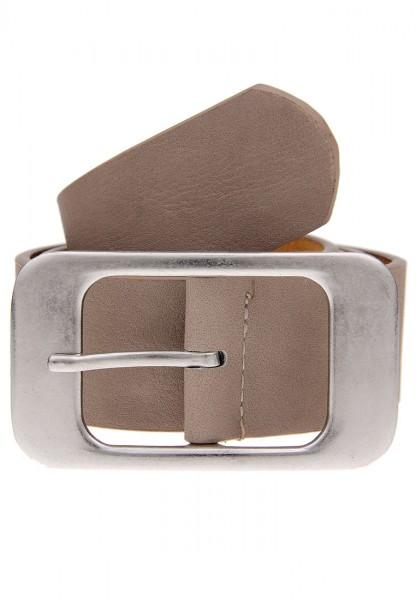 Leslii Damen-Gürtel Basic Statement-Schnalle breiter Gürtel Uni Taupe Silber