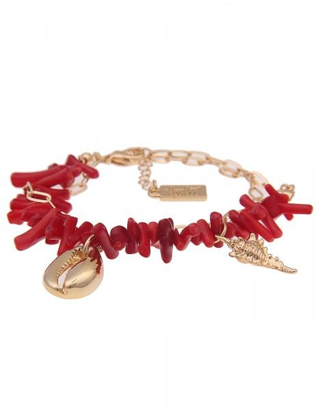 Leslii Damenarmband Marisol Muschel-Armband Statement Modeschmuck Länge 18cm in Rot Gold