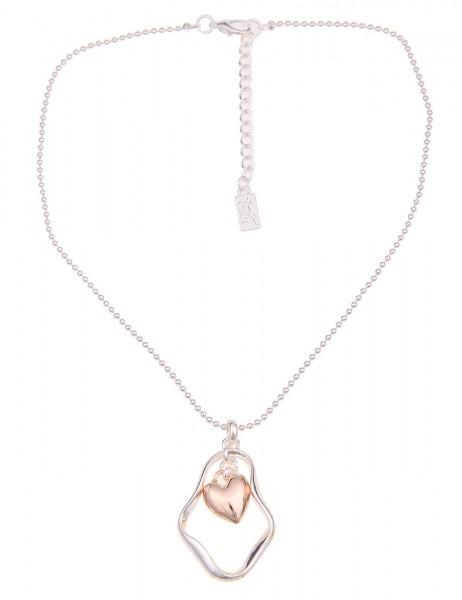 Leslii Damen-Kette Herz Bicolor Metalllegierung Hochglanz 43cm + Verlängerung Silber Rosé 210116979