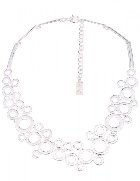 -70% SALE Leslii Halskette Silver Bubbles Silber | kurze Damen-Kette Mode-Schmuck | 37cm + Verlänger