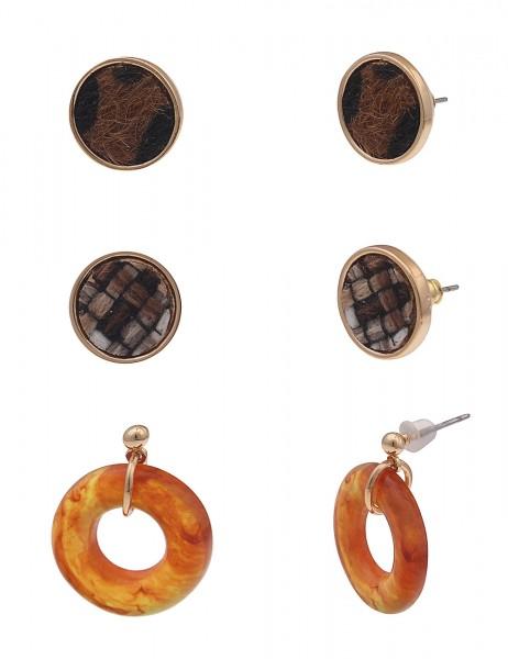 Leslii Damen-Ohrringe Ohrstecker Ohrhänger 3er-Set Leo-Kunstfell Textil braune Modeschmuck-Ohrringe