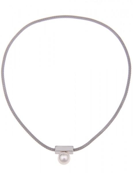 Leslii Damen-Kette Premium Quality Mesh Perle Metalllegierung 45cm mit Magnetverschluss 210115613