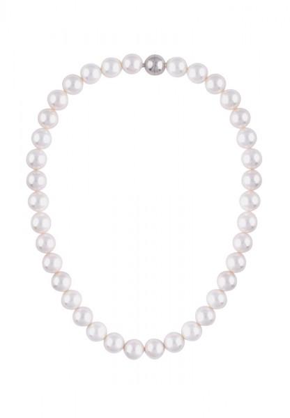 Kurze Kette Perlencollier weiss - 12/weiss