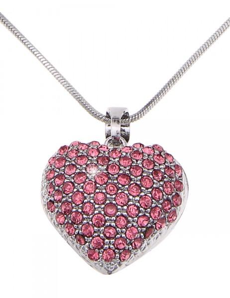 -50% SALE Leslii Halskette Glitzer Romance Pink | kurze Damen-Kette Mode-Schmuck | 45cm + Verlängeru