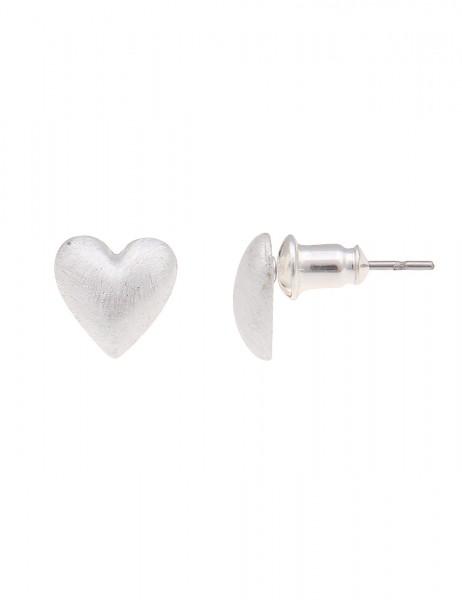 Leslii Ohrstecker Simple Heart Silber   Trendige Damen-Ohrringe   Mode-Schmuck   Länge: 0,9cm