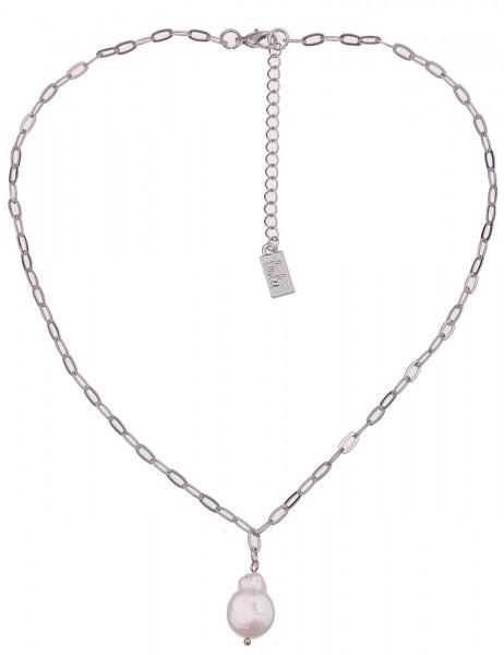 Leslii Damenkette Naturperle aus Metalllegierung mit Perle Länge 44cm in Silber Weiß