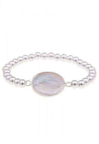 -70% SALE Leslii Armband Perlmuttscheibe Silber Weiß | modisches Damen-Armband Mode-Schmuck | Länge: