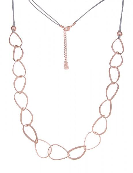 Leslii Damenkette Tropfen aus Textil mit Metalllegierung Länge 80cm in Rosé Grau Matt