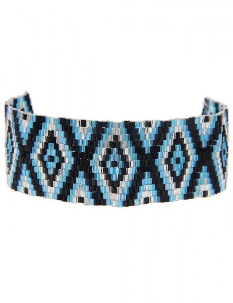 -50% SALE Leslii Damen-Armband Web-Muster Raute Schwarz Blau Textil Glasperlen Größe verstellbar 260
