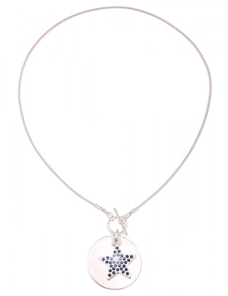 Leslii Damenkette Glitzer Stern aus Metalllegierung mit Strass Länge 45cm in Silber Blau
