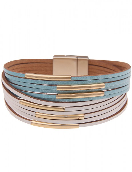 Leslii Damenarmband Fashion Statement veganes Lederarmband Modeschmuck-Armband Länge 19cm in Weiß Bl